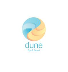 Dune logo spa resort emblem sand water vector
