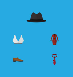 flat icon dress set of male footware cravat vector image vector image