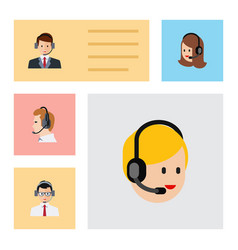 flat telemarketing set of call center service vector image vector image