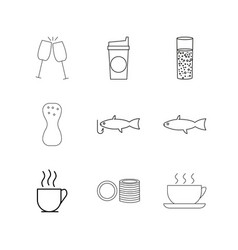 Food and drink linear icon set simple outline vector