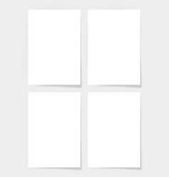 four pieces blank a4 sheet of white paper with the vector image