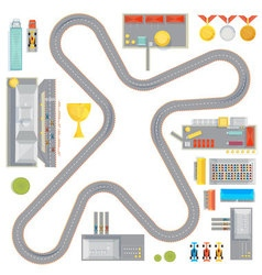Gaming race track composition vector
