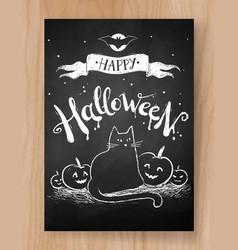 halloween postcard chalked design vector image vector image