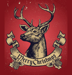 hand drawing style of christmas deer with text vector image vector image