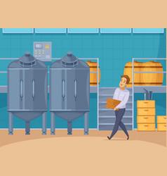 Honey production facility cartoon composition vector