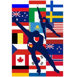 Ice skaters countries vector