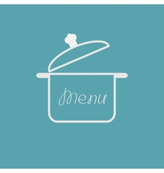 Menu cover with open saucepan Flat design style vector image vector image