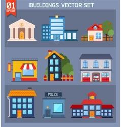 Modern flat buildings set vector image vector image
