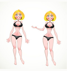 Nude Blond on black underwear in two poses of vector image vector image