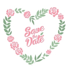 Save the date floral heart card Vintage wedding vector image vector image
