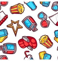 Seamless pattern of 3d movie elements and cinema vector image vector image