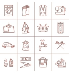 Set of linear cleaning icons vector