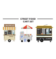 street food cart set vector image