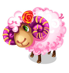 Sweet pink sheep with large spiral horns vector
