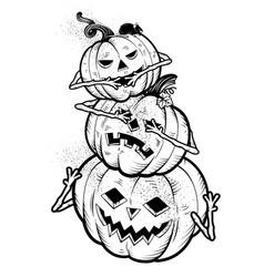 Three wise halloween pumpkins vector