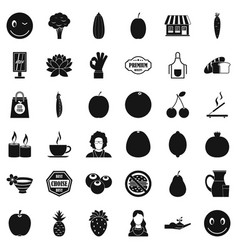 Vegetarian cafe icons set simple style vector