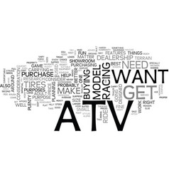 Which atv is right for you text word cloud concept vector