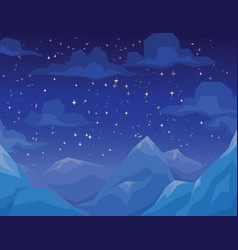 Winter scene with mountains landscape night vector