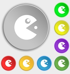 Pac man icon sign symbol on eight flat buttons vector