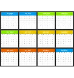 European planner blank for 2017 scheduler agenda vector
