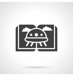 Ufo fiction glyph style black icon vector