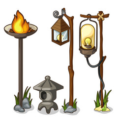 Torch and vintage street lights isolated vector