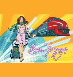 Railroad passenger train bon voyage vector