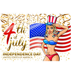 A girl celebrating independence day poster vector