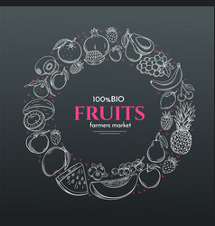 Frame with hand drawn fruits vector