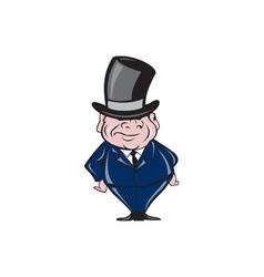 Man wearing top hat smiling cartoon vector