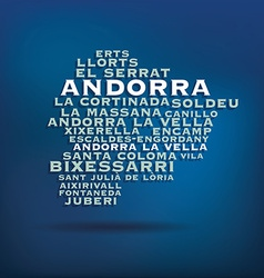 Andorra map made with name of cities vector