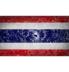 Flags thailand with broken glass texture vector