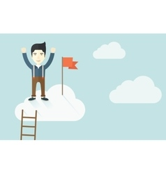 Asian man standing on the top of cloud with red vector