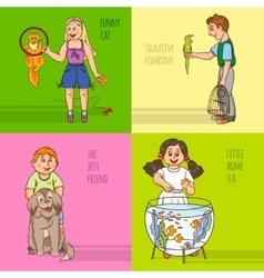 Childs and pets decorative icon set vector