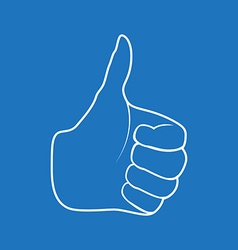 Hand Drawn Thumbs up isolated on white background vector image