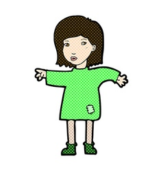 Comic cartoon woman in patched clothing vector
