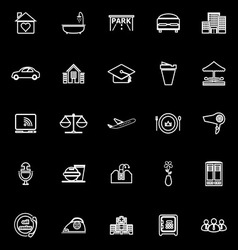 Hospitality business line icons on black vector