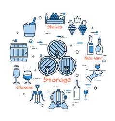 blue round storage of wine concept vector image