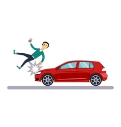 Car and transportation issue with a pedestrian vector