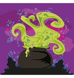 Cauldron with a boiling magic potion on an vector