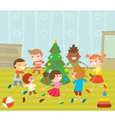Children round dancing christmas tree in baby club vector