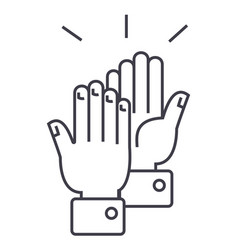 clapping hands line icon sig vector image vector image