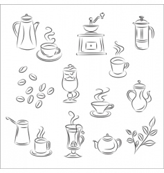 coffee and tea set vector image