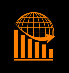 Declining graph with earth orange icon on black vector