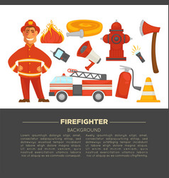 Fireman profession and fire secure protection vector