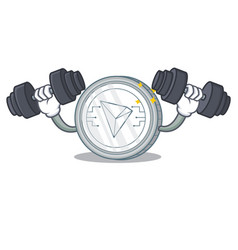 Fitness tron coin character cartoon vector
