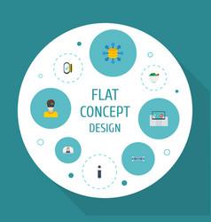 Flat icons hoverboard electron cigarette vlog vector