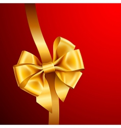 golden bow on red background vector image vector image