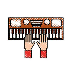 Hand with synthesizer electronic instrument vector
