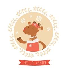 Hello winter card with cute deer girl portrait vector